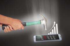 Telefono ed affare di moneta falsa del martello Fotografia Stock Libera da Diritti
