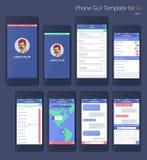 Telefono GUI Template di vettore Corredo di Wireframe UI Fotografia Stock Libera da Diritti