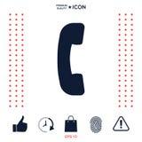 Telefono, icona di simbolo del ricevitore telefonico Fotografia Stock Libera da Diritti