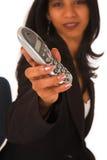 Telefono isolato della holding della donna di affari immagine stock