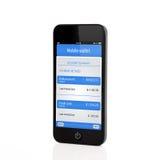 Telefono isolato con il portafoglio mobile e la transazione bancaria su una s immagine stock libera da diritti