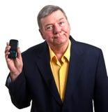 Telefono maturo delle cellule della stretta dell'uomo d'affari, isolato Fotografie Stock Libere da Diritti