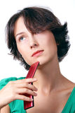 Telefono Meditative Fotografie Stock