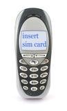 Telefono mobile con il messaggio della SCHEDA dell'INSERTO SIM fotografia stock libera da diritti