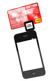 Telefono mobile con la carta di credito Fotografia Stock Libera da Diritti