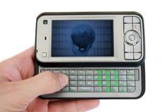 Telefono mobile con la metafora di successo sullo schermo Fotografie Stock Libere da Diritti