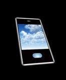 Telefono mobile con lo Screensaver della nube Fotografie Stock
