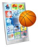 Telefono mobile della sfera di pallacanestro Fotografia Stock Libera da Diritti
