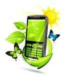 Telefono mobile di eco verde Fotografia Stock Libera da Diritti