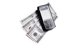 Telefono mobile e dollari Fotografia Stock Libera da Diritti