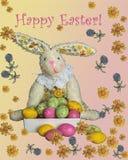 Telefono mobile giallo Coniglietto con le uova di Pasqua immagine stock libera da diritti