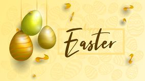 Telefono mobile giallo Priorità bassa di Pasqua Fondo nelle tonalità dell'oro illustrazione vettoriale