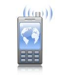 Telefono mobile illustrato su priorità bassa bianca Fotografia Stock Libera da Diritti