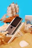 Telefono mobile sulla vacanza Fotografie Stock
