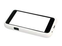 Telefono mobile in un coperchio bianco con uno schermo in bianco. Fotografia Stock Libera da Diritti
