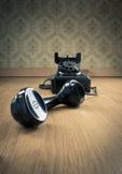 Telefono nero degli anni 50 fotografie stock libere da diritti