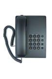 Telefono nero dell'ufficio con il microtelefono on-hook fotografia stock
