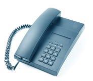 Telefono nero dell'ufficio isolato Fotografia Stock Libera da Diritti