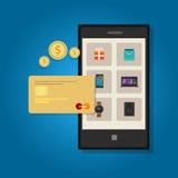 Telefono online della carta di credito di commercio mobile Fotografia Stock Libera da Diritti