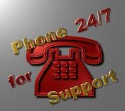 Telefono 24/7 per supporto Fotografie Stock