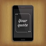 Telefono realistico con la bolla quadrata del testo di citazione Fotografie Stock Libere da Diritti