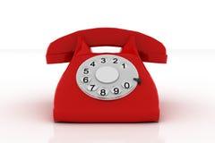 Telefono rosso 3d su priorità bassa bianca Immagine Stock