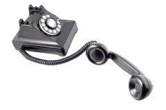 Telefono rotativo nero dell'annata (con il percorso di residuo della potatura meccanica) Immagini Stock