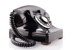 Telefono rotativo nero dell'annata (con il percorso di residuo della potatura meccanica) Fotografia Stock Libera da Diritti