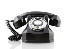 Telefono rotativo nero dell'annata (con il percorso di residuo della potatura meccanica) Fotografia Stock
