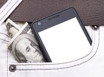 Telefono in tasca che visualizza schermo bianco contanti Fotografia Stock