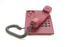 Telefono variopinto su priorità bassa bianca Immagini Stock Libere da Diritti