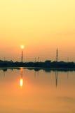 Telefonpoler på solnedgång Arkivfoton
