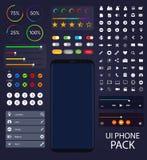 Telefonsamling för UI Moblie | Beståndsdelar för användargränssnittpackevektor royaltyfri illustrationer