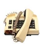 Telefonsammlung - zerschmettertes Telefon auf weißem Hintergrund stockfotos