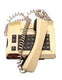 Telefonsammlung - zerschmettertes Telefon auf weißem Hintergrund Stockbild