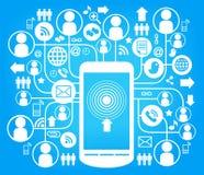 Telefonsozialnetzblau Lizenzfreie Stockbilder