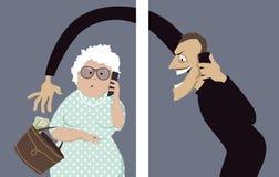 Telefonsvindeln uppsätta som mål pensionärer stock illustrationer