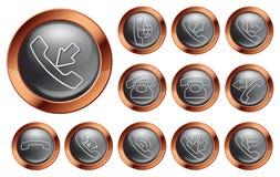 Telefonsymbol på grå färger Royaltyfria Foton