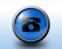 Telefonsymbol Rund glansig knapp Royaltyfria Bilder