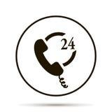 Telefonsymbol 24 timmar service Arkivbild