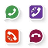 Telefonsymboler ställde in i anförandebubbla och knapp stock illustrationer