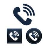 Telefonsymbolsuppsättning, isolerade illustrationer Arkivbild