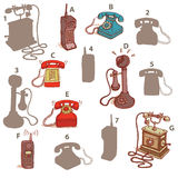 Telefonu cienia projekta gra Rozwiązanie: A7, B6, C5, D3, E2, F4, G1 Obraz Stock