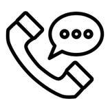 Telefonu handset z mowa bąbla linii ikoną Obchodzi się telefon z wiadomości ilustracją odizolowywającą na bielu Rozmowa konturu s royalty ilustracja