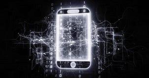 Telefonu kom?rkowego 5G przyrz?d w wirtualnej cyberprzestrzeni sieci z binarnym kodem