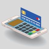 Telefonu komórkowego i kredytowej karty zapłaty zakupy Zdjęcia Stock
