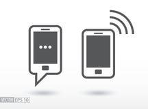 Telefonu komórkowego mieszkania ikona Szyldowy smartphone kuli ziemskiej loga wektoru sieć Obrazy Stock