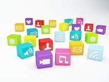 Telefonu komórkowego app ikona Oprogramowania pojęcie Obrazy Royalty Free
