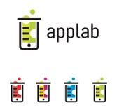 Telefonu laborancki logo w różnych kolorach royalty ilustracja
