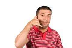 Telefonu młody człowiek Fotografia Stock